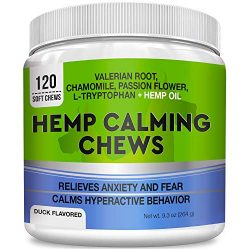 GOODGROWLIES Calming Hemp Treats for Dogs – Made in USA with Hemp Oil – Anxiety Relief – Separation Aid – Stress Relief During Fireworks, Storms, Thunder – Aggressive Behavior, Barking – 120 Chews