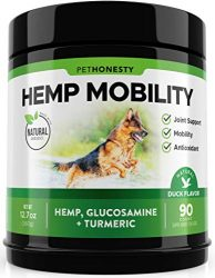 PetHonesty Hemp Hip & Joint Supplement for Dogs – Hemp Oil & Hemp Powder – Glucosamine Chondroitin for Dogs Turmeric, MSM, Green Lipped Mussel, Dog Treats Improve Mobility, Reduces Discomfort – Duck