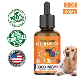 Nevissbags Hemp Oil for Dogs & Cats (3000mg), Pain Anxiety Relief for Pets – 100% Natural Organic Hemp Herbal Extract, Supports Hip & Joint Health – Pet Omega 3, 6, 9 – Made in USA