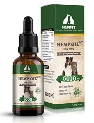 HAPIPET Hemp Oil for Dogs Cats Pets,100% Pet Hemp Oil, 5000MG for Hemp Oil Stress Sleep Aid, Supports Hip & Joint Health, Grown & Made in USA-Omega 3, 6 & 9