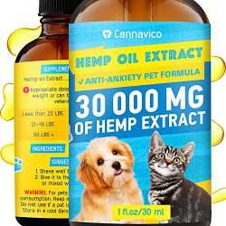 CANNAVICO Hemp Oil Extract for Dogs & Cats – Anti-Anxiety Pet Formula – 100% Natural Ingredients – Hypoallergenic – Stress Sleep Aid -Made in USA
