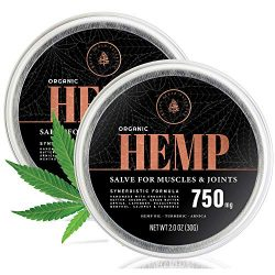 (2-Pack) Organic Hemp Salve – 750MG – Anti Inflammatory Cream Formula for Back, Joints & Muscles – Handmade with Arnica Montana, Menthol, Aloe Leaf, Shea Butter, Cacao Butter & Turmeric – 2oz