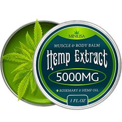 Premium Hemp Balm – Ultra Strong Natural Pain Relief – 5000mg Hemp Extract – Rosemary & Hemp Oil – Anti-Inflammatory for Joint & Muscle, Arthritis Pain – Fast Acting Hemp Salve – Made in USA – Non-GMO