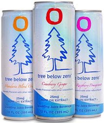 Tree Below Zero Sparkling Juice, 6 flavor Variety Pack – 12oz Cans Cranberry Ginger, Mandarin Blood Orange, Blueberry Raspberry Pomegranate hemp water – Only on Amazon.