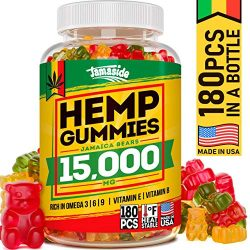 Hemp Gummies 15000 MG – Made in USA – 180 MG Hemp in Each Gummy – Premium Hemp Extract – CO2 Extraction – Omega 3, 6, 9 – Anxiety & Stress Relief – Sleep & Mood Improvement