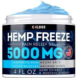 Coldee Pain Relief Hemp Oil Gel – 5000 MG, 4 OZ – Max Strength & Efficiency – Natural Hemp Extract for Arthritis, Knee, Joint & Back Pain – Made in USA – Hemp Cream for Inflammation & Sore Muscles