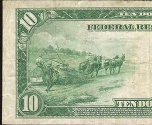 hempdollar 300x247 - 1914 10 Dollar Bill was Printed on Hemp Paper and Portrays Farmers Plowing Hemp